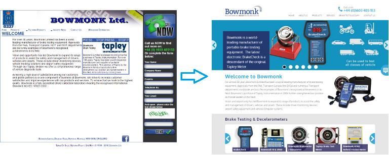 The new Bowmonk website compared to its predecessor